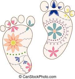 piedi bambino, dipinto, silhouette, vendemmia