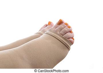 piedi, compressione, calza