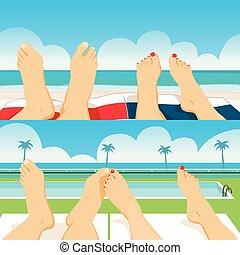 piedi, coppia, spiaggia, stagno