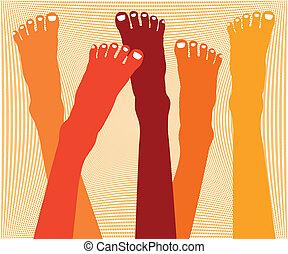 piedi, design., sano