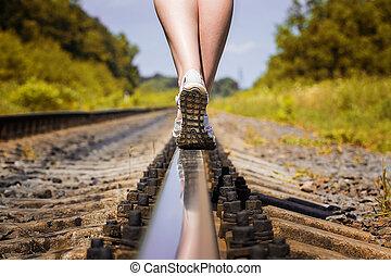 piedi, ferrovia, rotaia