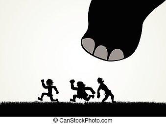 piedi, grande, dinosaur's