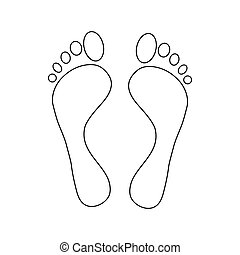 piedi, icona, stile, contorno, umano