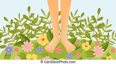 piedi, illustration., nudo, vettore, fiore, meadow.