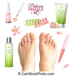 piedi, set, femmina, pedicure