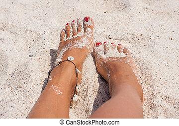 piedi, spiaggia, tuo, rilassante, sand.