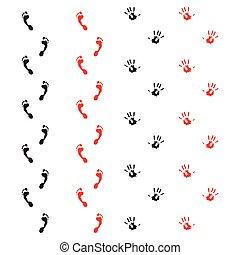 piedi, tracce, mani