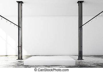 piedistallo, moderno, soffitta, vuoto, galleria