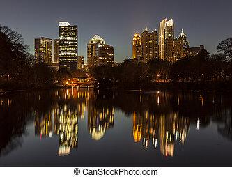piedmont, parque, atlanta, noche