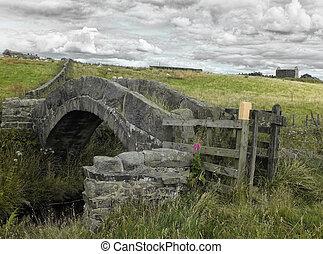 piedra, antiguo, hebden, sheep, edificio, packhorse, medieval, páramo, pennine, colden, paisaje, pasto, arruinado, yorkshire, plano de fondo, oeste, granja, puente