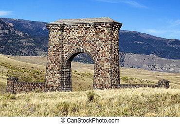 piedra, arco, entrada, parque, yellowstone, nacional