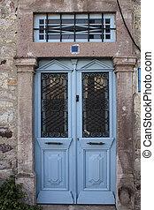 piedra azul, puerta, pared, arriba, oxidado, cierre, histori, viejo, vista