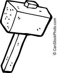 piedra, caricatura, mazo