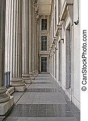 piedra, columnas, en, un, judicial, ley, edificio