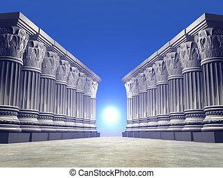 piedra, -, columnas, render, 3d