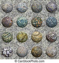piedra, conjunto, pared, -, seamless, textura, pelotas, ...