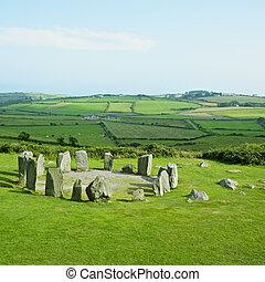 piedra, corcho, drombeg, condado, irlanda, círculo