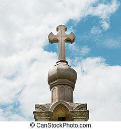 piedra, cruz, en, el, cielo, plano de fondo