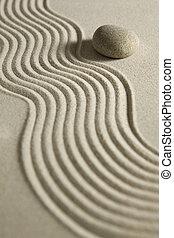piedra, en, raked, arena