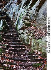 piedra, escalera