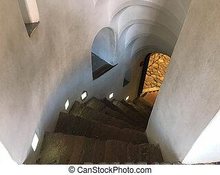 piedra, escaleras, espiral, abajo, yendo, pasos, escarpado