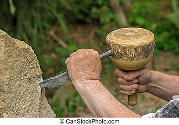 piedra, escultura, escultor, trabajando