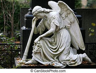 piedra, estatua, de, ángel, en, un, cementerio