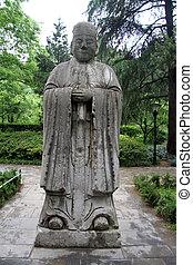 piedra, estatua, de, chino, mandarín, en el jardín, de, palacio, en, nanjing, china