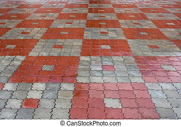 piedra, gris, pattern., rojo, losetas