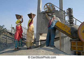piedra, india, trituradores