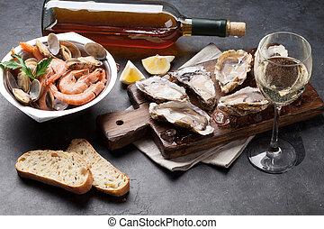 piedra, mariscos, fresco, tabla, vino blanco