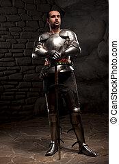 piedra, medieval, espada, caballero, oscuridad, posar, plano...