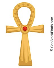 piedra, oro, egipcio, ankh, objeto, cruz, aislado, copto,...