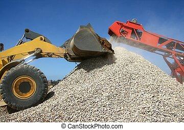 piedra, pila, máquinas