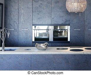piedra, pizarra, banco, forniture, mármol blanco, cocina