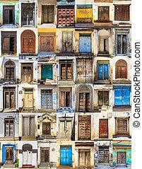 piedra, pueblo, collage, 42, puertas, frente, horizontal, ...