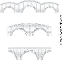 piedra, puentes, vector, ilustración