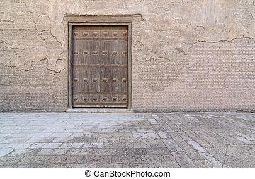 piedra, puerta, de madera, abovedado, pared, viejo