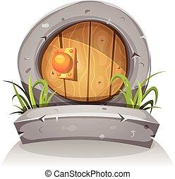 piedra, puerta, de madera, juego, ui, hobbit, caricatura