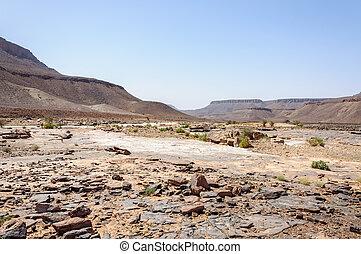 piedra, río, sin, agua, valle de draa, (morocco)