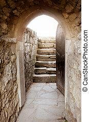 piedra, rayos, puerta, pared, luz, atrás, abierto