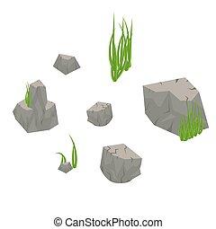 piedra, rocas, con, pasto o césped, aislado, en, white.