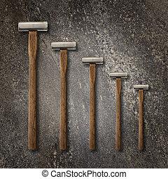 piedra, selección, precisión, martillos, fondo, carpintería