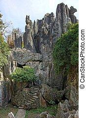 piedra, shilin, china, bosque, kunming