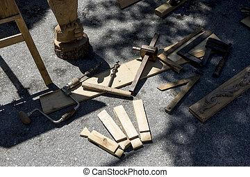 piedra, trabajando, escultor, cinceles, madera, tradicional...
