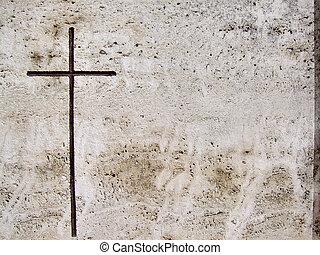 piedra, tumba, cruz