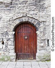 piedra, viejo, arqueado, de madera, wall., puerta