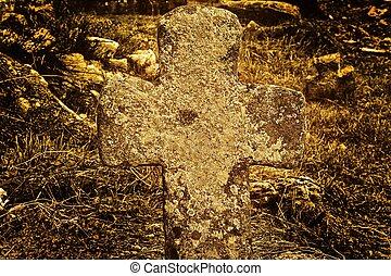 piedra, viejo, cruz