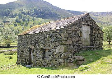piedra, viejo, paisaje, granero