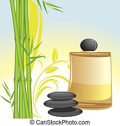 piedras, aceite, bambú, negro, balneario